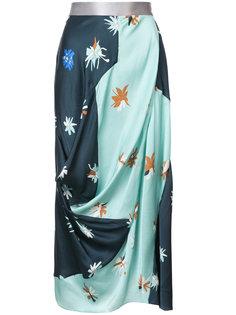 юбка с вышивкой дизайна колор-блок Roksanda