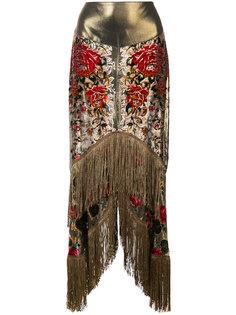 юбка с неравномерным подолом и бахромой Anna Sui