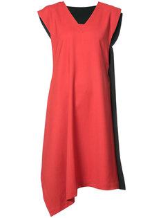 двухцветное асимметричное платье  Issey Miyake