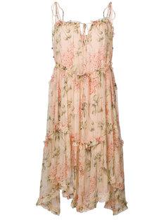 асимметричное платье с цветочным принтом Zimmermann