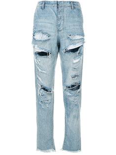 джинсы-бойфренды с прорванными деталями One Teaspoon