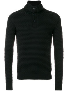 фактурный свитер с высокой горловиной и пуговицами Paolo Pecora