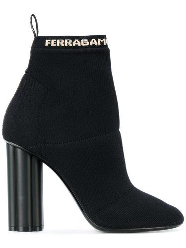 ботинки с носочной вставкой с принтом логотипа Salvatore Ferragamo