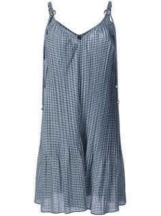 плиссированное платье в клетку гингем Adam Selman