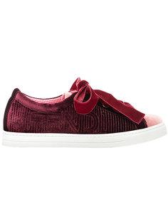 вельветовые кроссовки на шнуровке Fendi