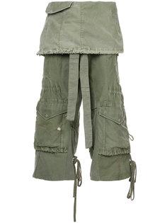 укороченные брюки карго  Greg Lauren