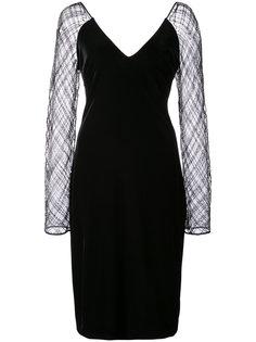 платье с прозрачными рукавами Badgley Mischka