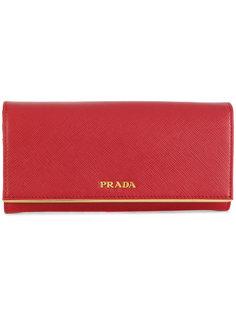 континентальный кошелек из сафьяновой кожи Prada