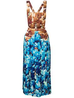 плиссированное платье с принтом  Marco De Vincenzo