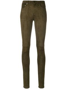 замшевые брюки кроя скинни Saint Laurent