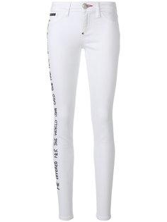 джинсы скинни с заплатками с розами Philipp Plein