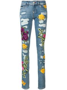 джинсы скинни с заплатками с розами и эффектом потертости Philipp Plein