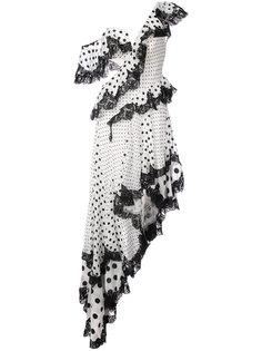 платье на одно плечо с узором в горох Zimmermann