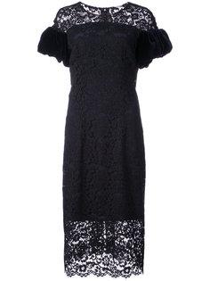кружевное платье с бархатными рукавами Monique Lhuillier