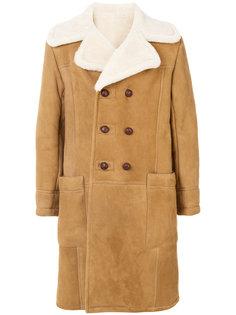 двубортное пальто из овчины Kent & Curwen