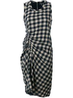 платье в клетку со сборками James Perse