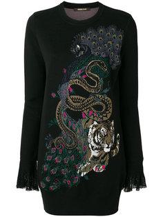 длинный свитер с павлином  Roberto Cavalli