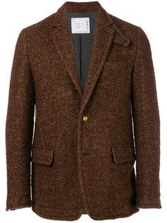 твидовый пиджак с узором-елочкой Sacai