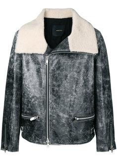 кожаная куртка с меховым воротником Undercover