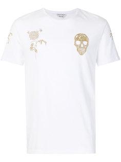 футболка с вышитым черепом и розой Alexander McQueen