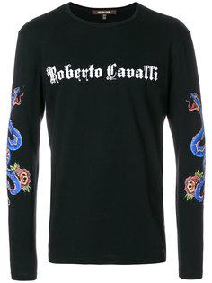 толстовка с принтом логотипа Roberto Cavalli