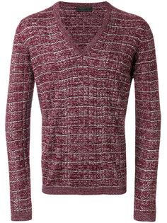 свитер с V-образным вырезом в рубчик  Prada