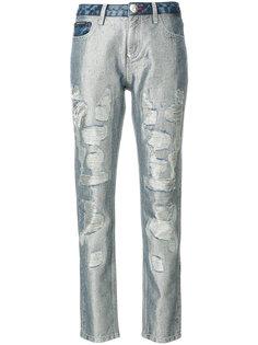 блестящие джинсы с потертой отделкой Philipp Plein