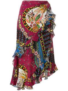 юбка с цветочным принтом с оборками Etro