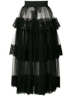многоярусная юбка из тюля с кружевной отделкой Dolce & Gabbana