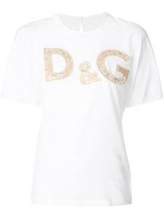 футболка с парчовым логотипом с цветочным узором Dolce & Gabbana