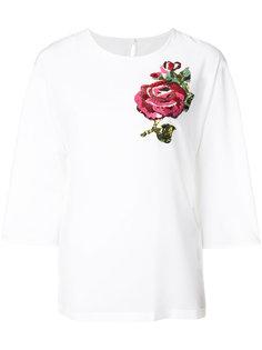 топ с аппликацией роз Dolce & Gabbana