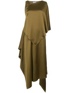 атласное асимметричное платье  Osman