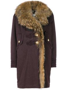 пальто мешковатого кроя с меховой оторочкой  Bazar Deluxe
