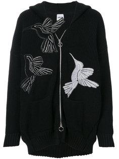 кардиган на молнии с принтом птицы  Akep