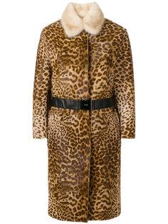 пальто с леопардовым узором и норковым воротником Nº21