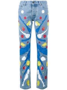 прямые джинсы с принтом краски Mirco Gaspari