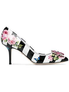 туфли в полоску с цветочным принтом Dolce & Gabbana