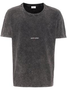 футболка с потертой отделкой Saint Laurent
