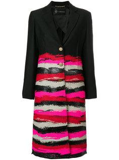 однобортное пальто с принтом Versace