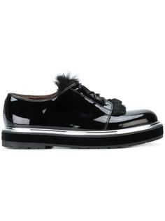 туфли-лодочки со шнуровкой и меховой отделкой Agl