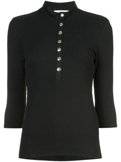 button front ribbed top Just Female
