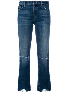 укороченные джинсы с потертой отделкой J Brand