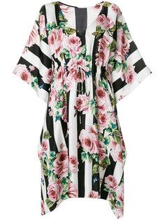 полосатое платье с розами Dolce & Gabbana