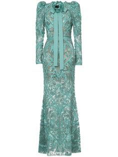 декорированное вечернее платье с длинными рукавами Elie Saab