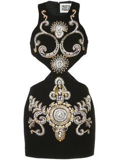 декорированное платье мини с вырезными деталями Fausto Puglisi