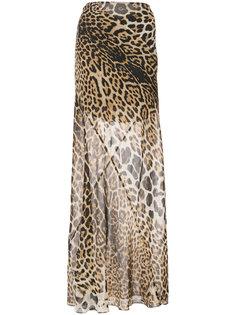 длинная юбка с леопардовым принтом Saint Laurent