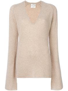 свитер с удлиненными рукавами и глубоким вырезом  Forte Forte
