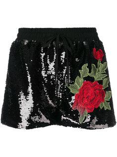 шорты с пайетками и вышивкой роз Philipp Plein