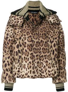 куртка-пуховик с леопардовым узором Dolce & Gabbana