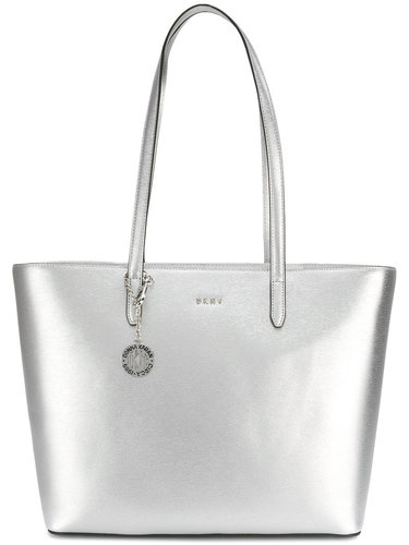 сумка-шоппер с отделкой металлик DKNY
